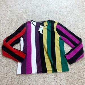 inc Metallic striped pullover sweater magenta